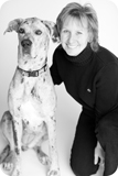 jen-and-pooch-bw